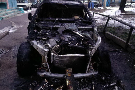 Сегодня наНовгородской сожгли БМВ