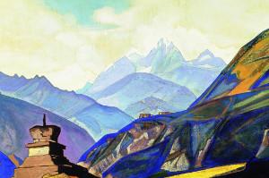 Чаще всего на картинах Рериха встречаются Гималаи.